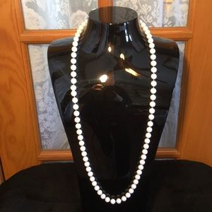 """Beaded 34"""" White Vintage Necklace"""